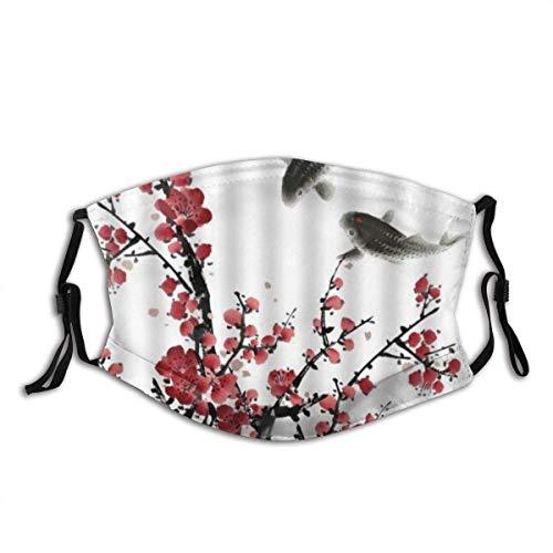 Blumenbaum Pflaumenblüte Koi Fisch Asian Style Artwork Bandana Gesichtsdekorationen FA-Ce Co-Ver FA-Ce Mas-Ke Mit Filtern