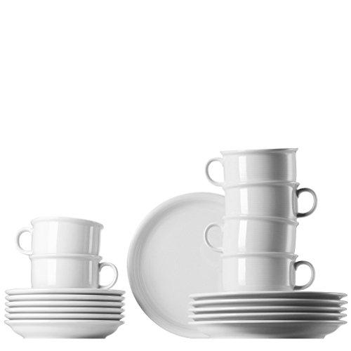 Rosenthal - Trend Set 18-teilig Weiß - Kaffeegeschirrset mit Cappuccino-Tassen