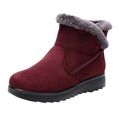 Xinantime Vrouwen Winter Pluche Sneeuwlaarzen Pluche Bont Warm Schoenen Enkellaarzen Rits Platte Korte Laarzen