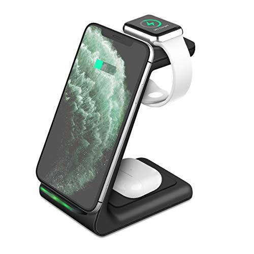Wireless Charger Stand, KKUYI 3 in 1 Wireless Charging Station for AirPods Pro Apple Watch Charging Dock Wireless Charging Stand Compatible with iPhone 11/11 Pro/XR/Xs Max/X/8/8P, Galaxy Note10/S10/S9