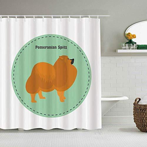 N\A Cortina de Ducha Animal canino de Pomerania en un círculo Spitz Forros de baño Impermeables Ganchos incluidos - Ideas Decorativas para el baño Accesorios de Tela de poliéster
