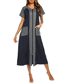 Ekouaer Cotton Zip Down Robe with Two Side Pockets Cotton Duster Nightgowns Full Length House Coat Navy Blue,M