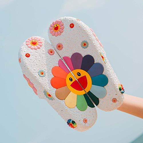 LINGZIA Zapatilla Gruesa de Moda para Mujer, patrón de Girasol Colorido Zapatos Antideslizantes para el hogar Chanclas Summer Beach 8 Blanco