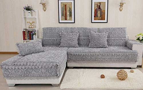 HXTSWGS Cojín para sofá de Invierno, cojín Acolchado Antideslizante, Funda de sofá de Estilo Europeo-Gray_90 * 180cm