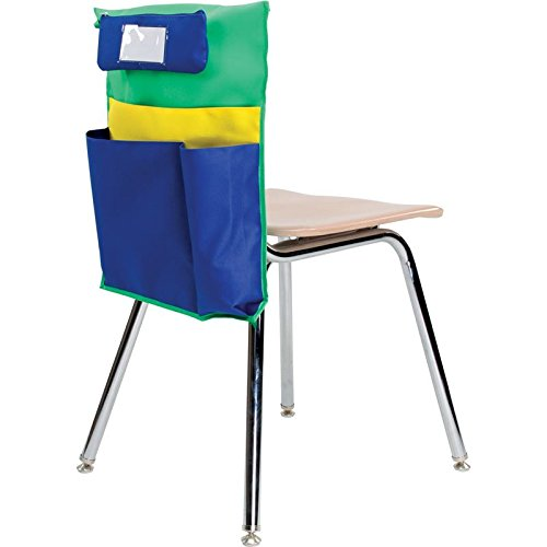 Really Good Stuff Store More Multi-Pocket Chair Pockets with Water Bottle Holder and Removable Pencil Case - Set of 6 – Roomy Chair Pocket Organizers Keep Students Organized and Classrooms Neat