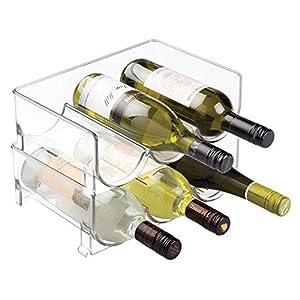 Juego de 4 Soporte para botellas de vino apilable, refrigerador ...