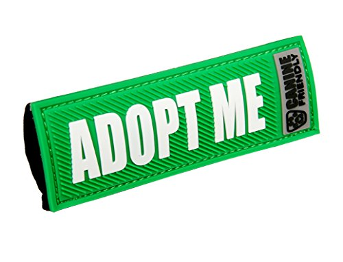 """Canine Friendly Bark Notes Patch for Collar or Leash, Adopt Me, 1"""" Width"""