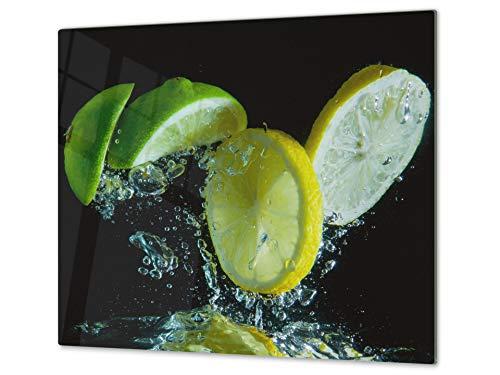Tabla de cocina de vidrio templado - Tabla de cortar de cristal resistente – Cubre Vitro Decorativo – UNA PIEZA (60 x 52 cm) o DOS PIEZAS (30 x 52 cm); D07E Frutas y verduras