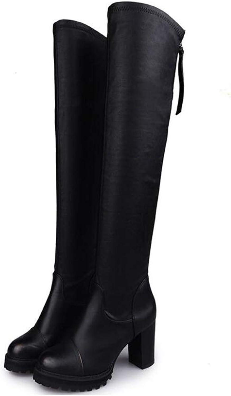 Woherrar skor, skor, skor, Autumn and Winter stövlar, Woherrar Over -Knee Martin stövlar, High Heed Slim Winter Thick Heel läder stövlar, Long stövlar (Färg  svart, Storlek  35)  bra erbjudanden