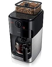 Philips Kaffebryggare Grind & Brew - Inbyggd kaffekvarn - Välj malningsalternativ - Med glaskanna - Svart & metall - Inbyggd kvarn - Val av styrka - Kaffet sprids med aromablandaren - HD7767/00