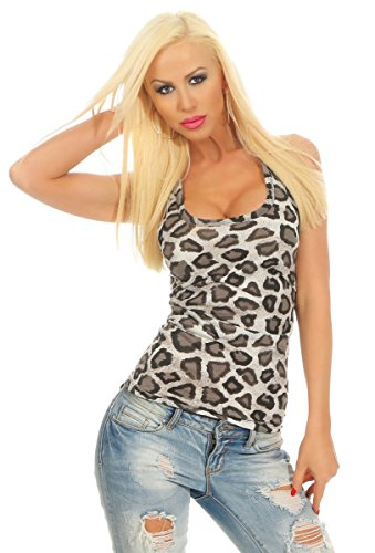 Fashion4Young 4328 Damen Tank-Top Leopard Top Ärmelos Shirt Hemd Basictop Damentop Bodycon (weiß-Leo, 34-36-38)