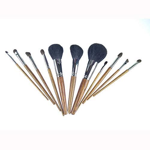 Tube de cuivre pinceau de maquillage Poignée Redwood Prime pinceau de maquillage Set de 11 outils de beauté
