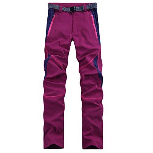 emansmoer Damen Wasserfest Atmungsaktive Quick Dry Elastisch Leicht Hosen Outdoor Sport Camping Wandern Angeln Hosen Pants (X-Large, Dunkelrot)