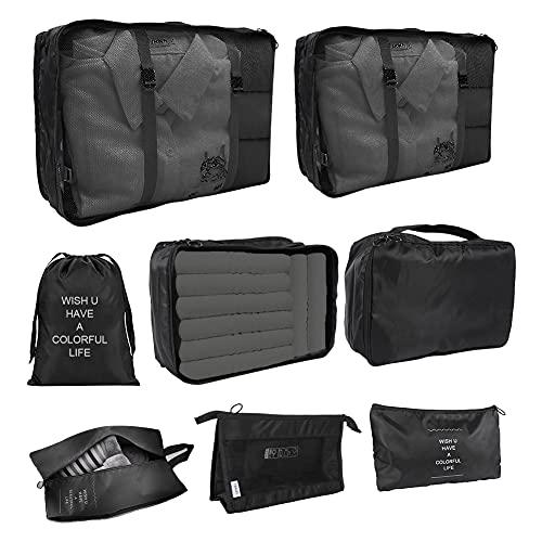 Victop Organizer Valigie Set di 8 Cubi di Viaggio Imballaggio Organizzatori Borse da Viaggio Borsa Morbida Impermeabile Portatile Compressione Sacchetti Borse per i vestiti Cosmetici Scarpe Intimo