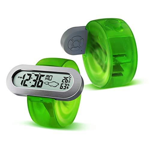 Digitaler Wecker, Zeit/Alarm/Temperatur/Luftfeuchtigkeit/Snooze/Wettervorhersage Wasser Energie Uhr, Elektronisches Wasserkraft Wecker Zeitschaltuhr,Green