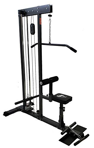 TDS Super LAT Pull Down and Low Row Cable Machine (Grey Finish) with CR Plated Solid Steel Guide rods for Smooth Performance