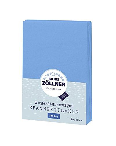 Julius Zöllner Jersey Spannbettlaken für Wiegen 90x40cm und Stubenwagen, 100% Baumwolle, STANDARD 100 by OEKO-TEX, blau