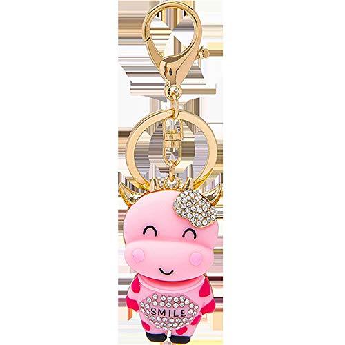 SJHFG Llavero de vaca de cristal de dibujos animados lindo becerro colgante cartera llavero mochila decoración colgante ornamento, rosa