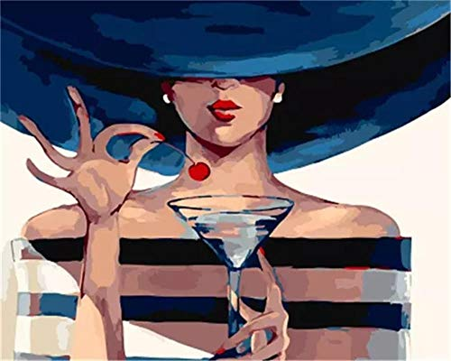 Cuadro digital de bricolaje con sombreros azules para mujer y colorear en la pared – 12 x 16 pulgadas marco interior