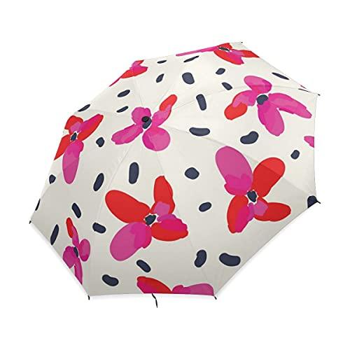 NC Paraguas Plegable Compacto, Lunares Florales Rojos Acuarela, Paraguas de Lluvia de...
