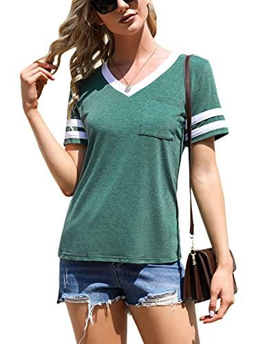 Doaraha Camiseta de Mangas Cortas para Mujer, Camiseta de Béisbol de Mujer, Camiseta Casual con Bolsillo de Cuello en V para Mujer, Camiseta Corta de Mangas a Rayas para Verano, Verde, S