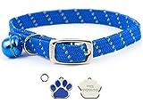 Carlton Trading ANCOL - Collar de gato azul reflectante elástico...