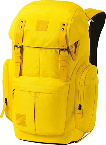Daypacker Alltagsrucksack im Retro Look mit Gepolstertem Laptopfach, Schulrucksack, Wanderrucksack oder Streetpack, 32 L, Cyber Yellow