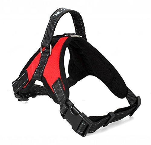 Motionjoy Nueva Suave Cómoda Acolchada Ajustable Mascota Pecho del Arnés del Chaleco para Mediano y Gran Tamaño Perro Formación o Caminar (S, Rojo)