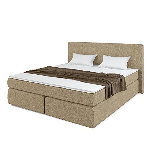 OSKAR Designer Boxspringbett Doppelbett Polsterbett Bett Hotelbett Stoff (beige 180x200cm)