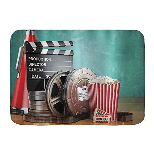Tapetes para puertas, producción de cine, carretes de película, entradas para claqueta, palomitas de maíz y megáfono, piso de cocina, alfombra para baño, alfombra absorbente para baño interior, decora