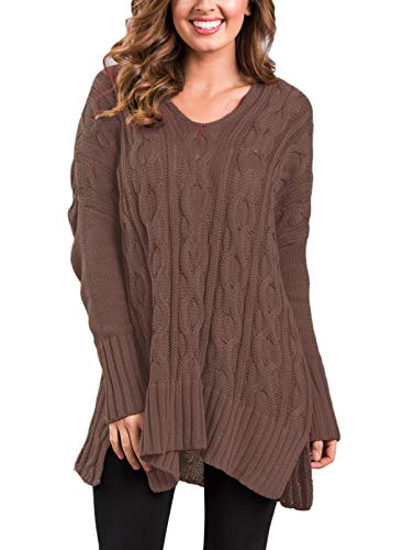 Sidefeel Women Casual V Neck Loose Fit Knit Sweater Pullover Top X-Large Brown