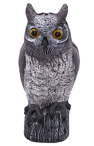 AG Garden Owl Natural Enemy Scarecrow Horned Owl Fake Owls Animal Bird Repellant Realistic Decor for Your Garden Pest Repellent Garden Protectors (Grey, 16)