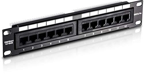 TRENDnet 12-Port Kat5/5e Ungeschirmtes Patchpanel, 10 Inch breit, 12 x Gigabit RJ-45 Ethernet Ports, TC-P12C5E