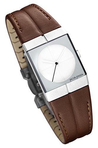 Jacob Jensen Damen Analog Quarz Uhr mit Leder Armband 243