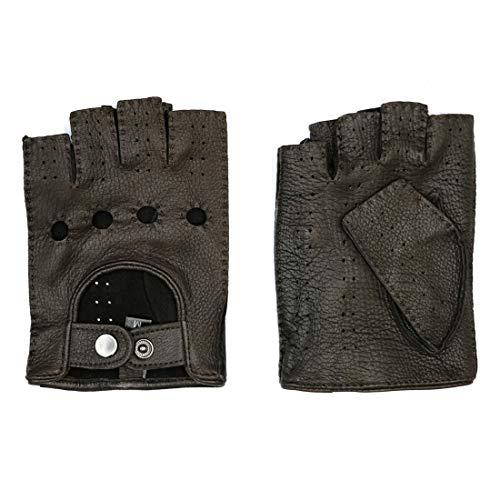 Harssidanzar Mens Goatskin Leather Fingerless Gloves Unlined Half Finger Driving, Brown, L