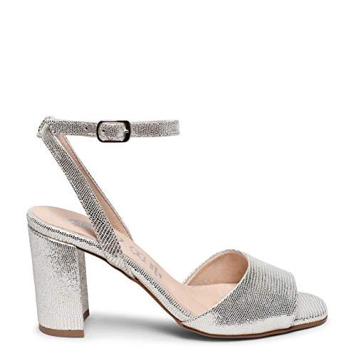 Zapatos miMaO. Sandalias de Piel Hechas EN ESPAÑA. Sandalia de Fiesta. Sandalia Elegante Tacón Alto y Ancho Cómodo Plantilla Ultra Confort Gel