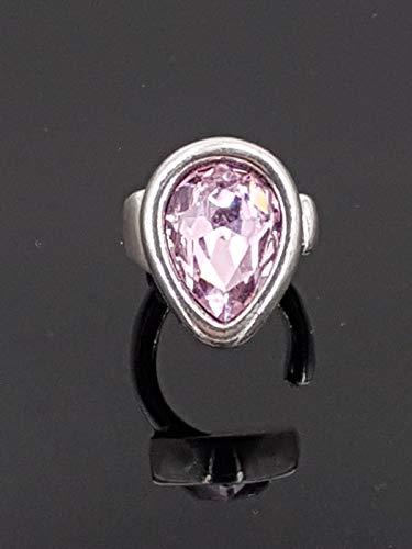 Anillo hecho a mano de zamak con baño de plata y cristal de Swarovski, zamak ring, Swarovski ring
