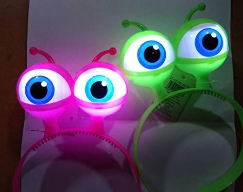 LED Blink Haarreifen Glubsch Augen Alien GRÜN BLAU Pink Leucht Haar Reif Reifen Blink (pink)