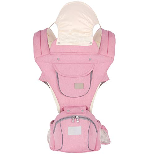 Ergonomic Baby Hip Seat Carrier Baby Waist Stool for Newborn Child Infant Toddler with Cool Air Mesh Windproof Babyhood Comfortable Insert Pink