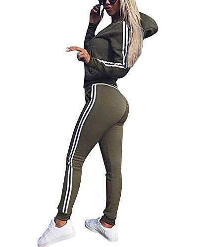 Le donne signore Side Stripe Top Bottom Co Ord Set cocktail maniche lunghe Tuta Da Ginnastica