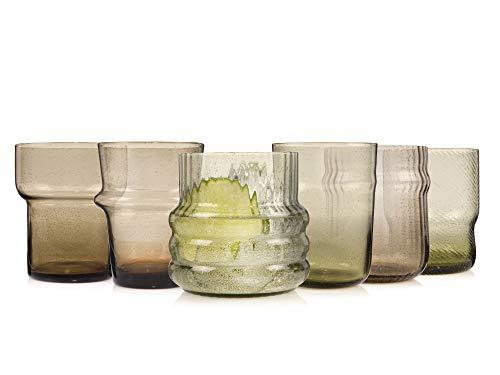 Sänger Gläser Set Bilbao 6 teilig - Füllmenge je Glas variabel zwischen 300ml und 450ml – grau und transparent – jedes Glas in besonderer Form