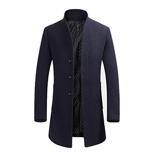 YOUTHUP Herren Wollmischung Mantel Slim fit Warmbody Windbreaker Business Winter Jacke, Blau(design 2), S