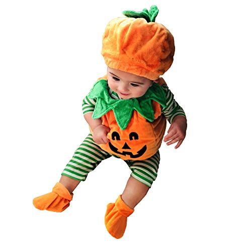 Halloween Costume Baby Boys Girls Cute Ghost Hooded Poncho Cloak Robe Cape Hat Blanket Hoodie Cosplay Clothes (0-6 Months, Pumpkin 3Pcs)