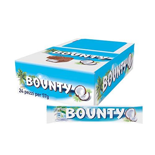 Bounty Chocolatina de Coco Recubierta con Un Delicioso Chocolate con Leche 60 g - Pack de 24