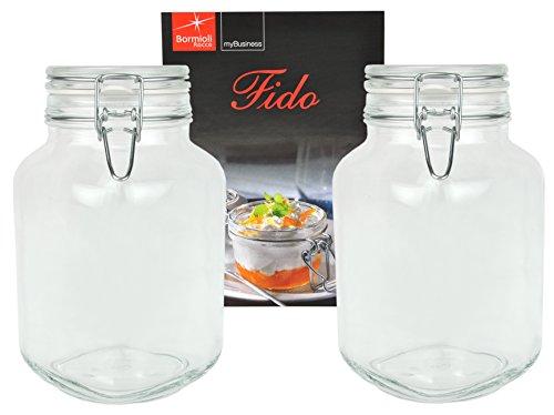 Bormioli 2er Set Einmachglas Bügelverschluss Original Fido 3,0L incl Rezeptheft*