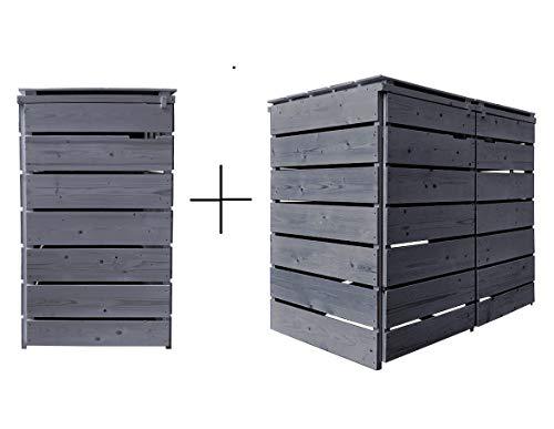 Fairpreis-design Mülltonnenbox Mülltonnenverkleidung Holz 120 L - 240 L anthrazit mit Rückwand vorimprägniert vormontiert Müllcontainer Mülltonnenschrank Mülltonne Alster (3 Tonnen)