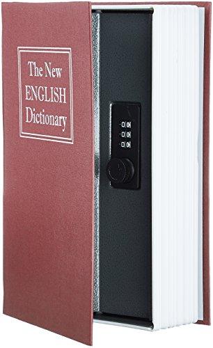 Amazon Basics - Caja de seguridad en forma de libro - Cerradura con combinación - Rojo