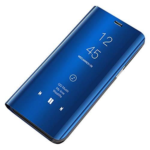 Ubeshine Hülle für Samsung Galaxy Note 10, Note 10 Plus Schutzhülle Handyhülle Spiegel Case Leder Cover Bumper Stand Feature Etui Flip Tasche für Galaxy Note 10 Lite (Blau, Note 10 Plus 6.8)
