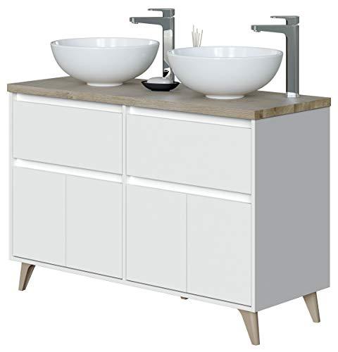 Miroytengo Mueble baño Doble 2 cajones 4 Puertas Color Roble y Blanco Aseo Estilo Moderno 120x46 Lavabo Incluido