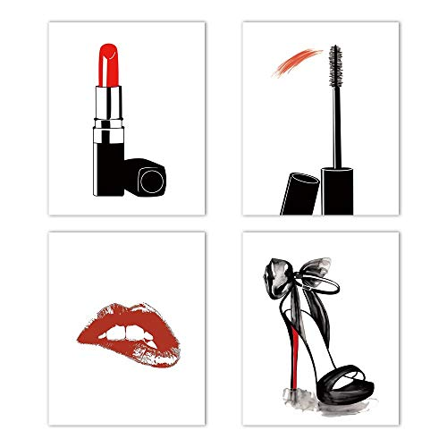 """Fashion Makeup Art Print Set of 4(8""""X10"""") Painting for Women Gifts Poster Pictures,Fashion Lipstick,Mascara,High Heels, Fashion Wall Art Canvas Poster for Girls Room Decor,Unframed"""